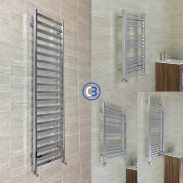 500mm Wide Chrome Square Tube Designer Heated Bathroom Towel Rail Radiator