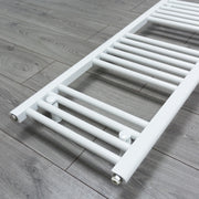 400mm Wide 1200mm High Flat White Heated Towel Rail Radiator Gas or Electric