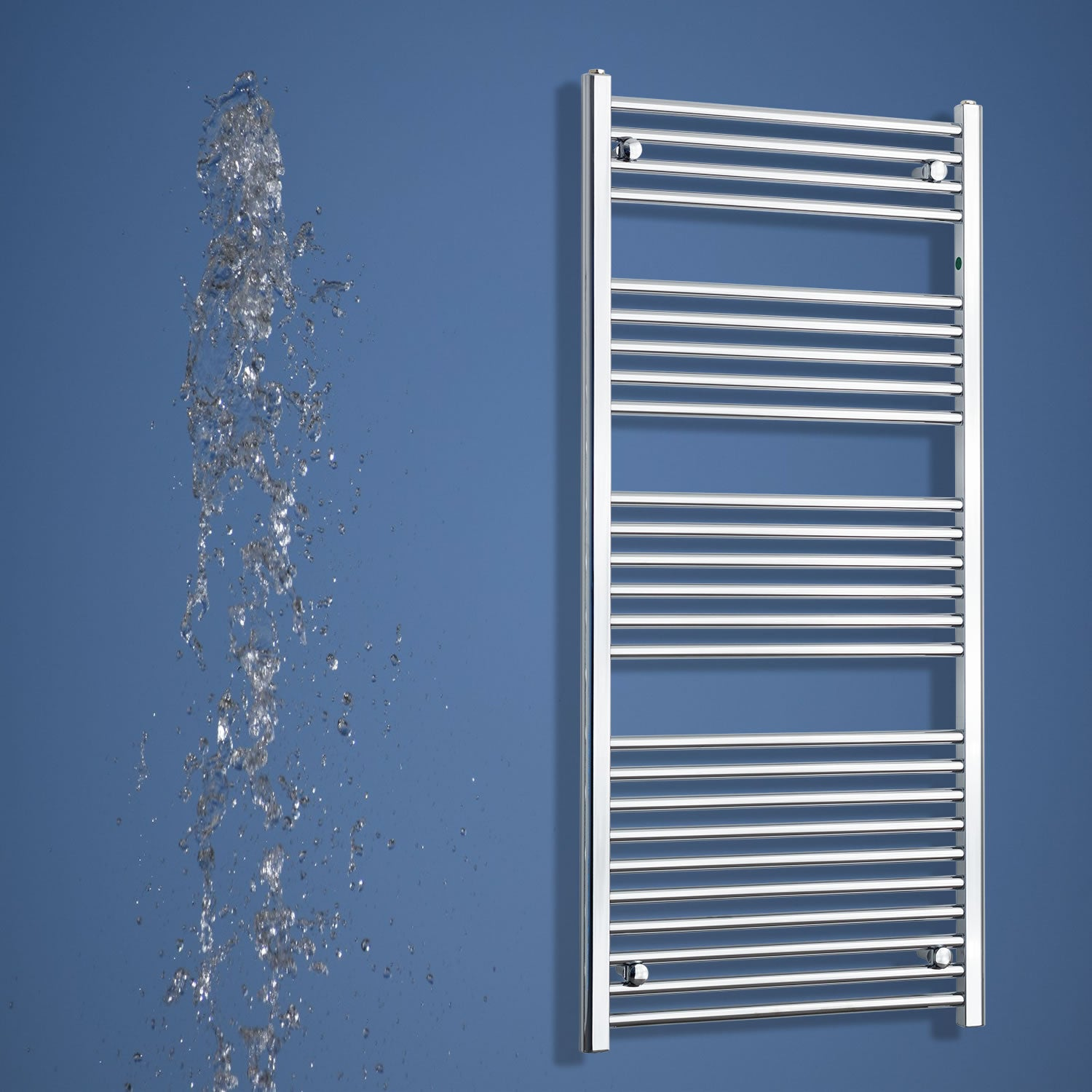 650mm Wide 1400mm High Flat Chrome Heated Towel Rail Radiator HTR