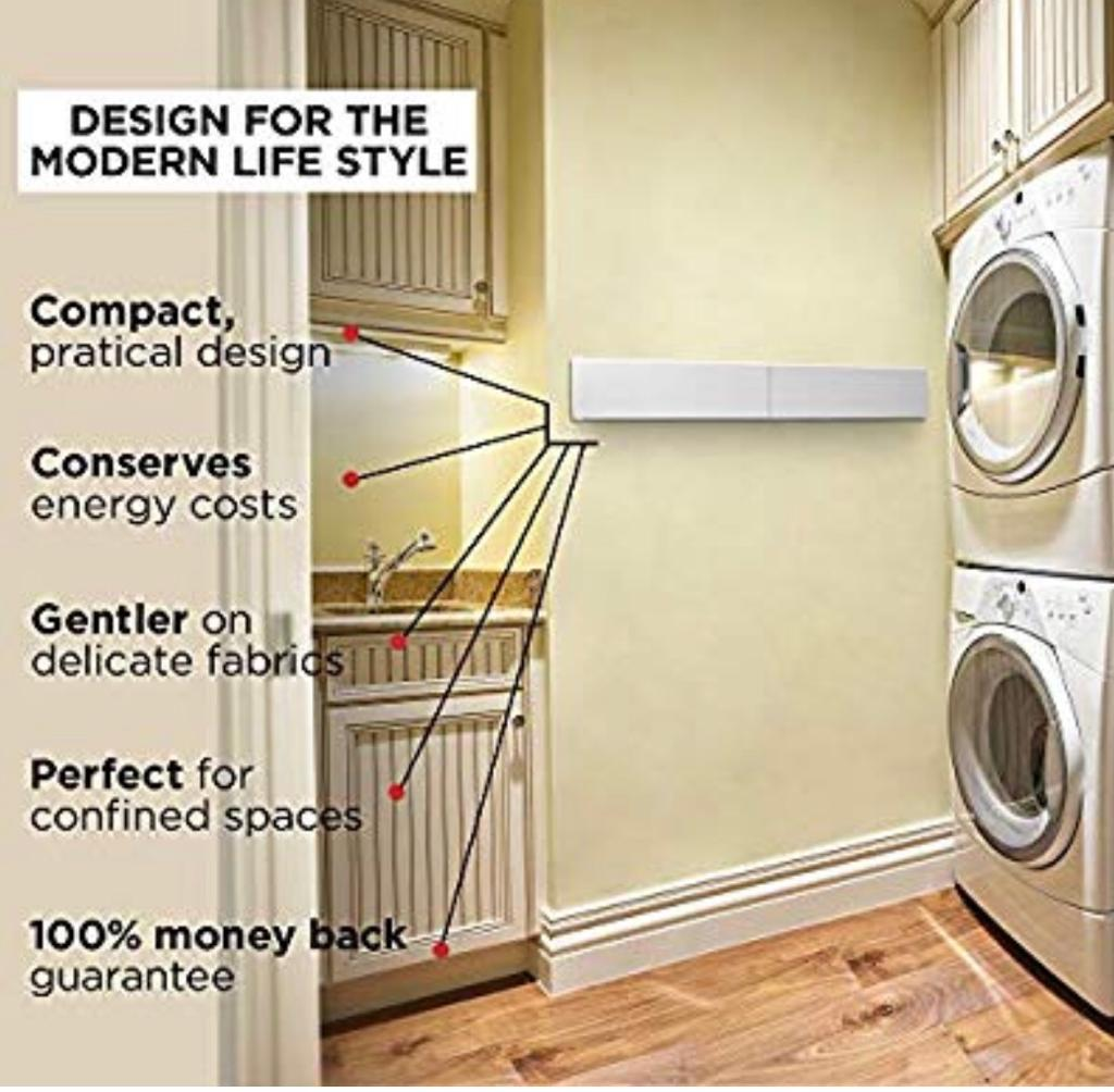 Nabu Smart Rails Foldable Wall Mounted Clothes Dryer Rack indoor or outdoor ( White or Anthracite )