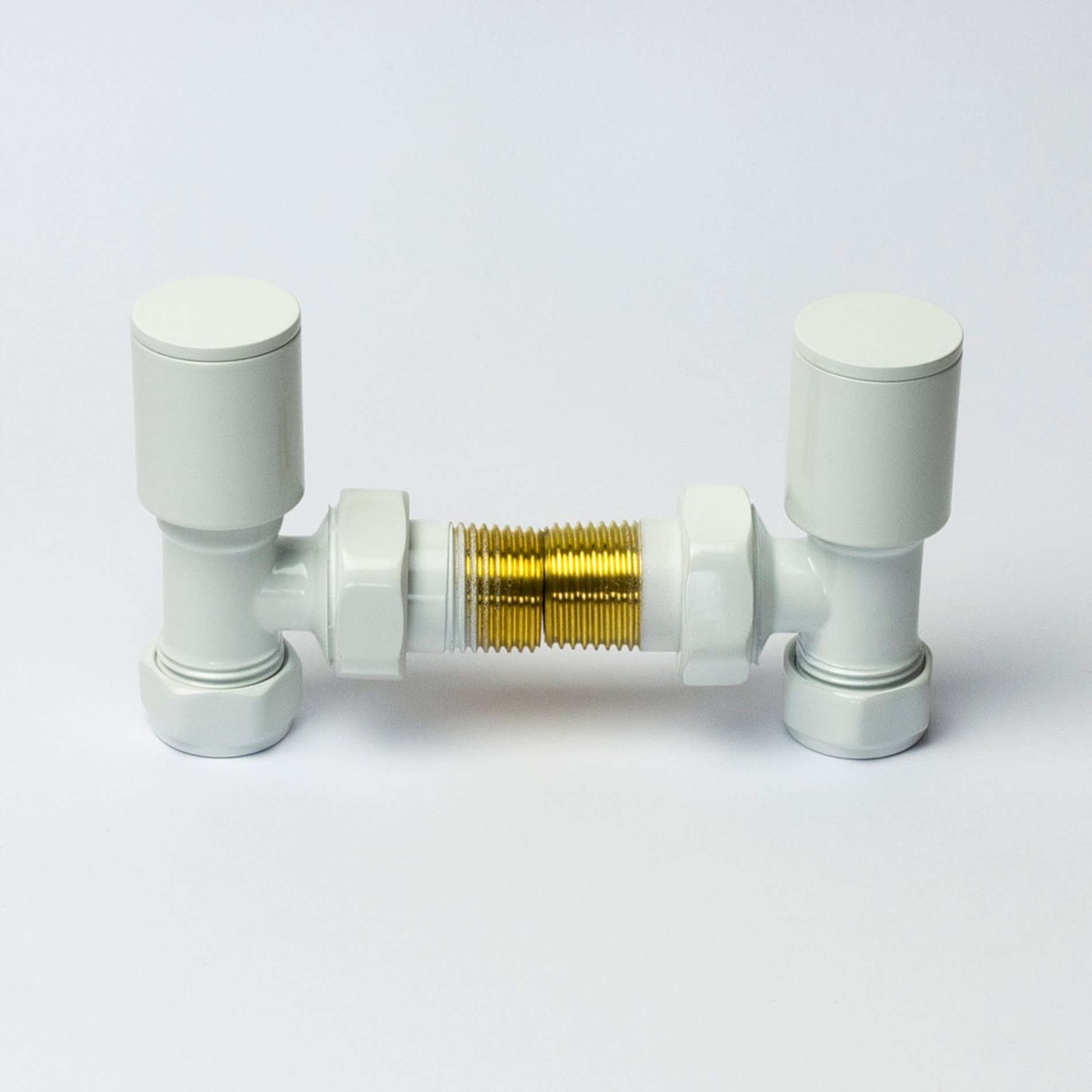 Angled White Towel Rail Radiator Valve in Pair