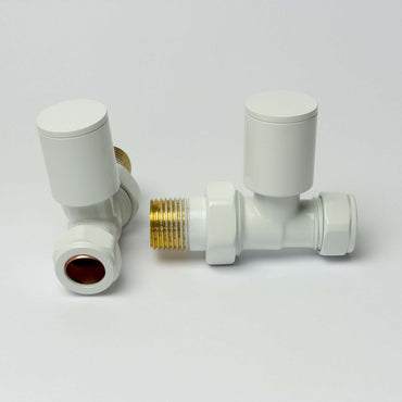 Straight White Towel Rail Radiator Valve in Pair