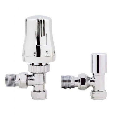 Angled TRV Chrome Towel Rail Radiator Valve With Lockshield