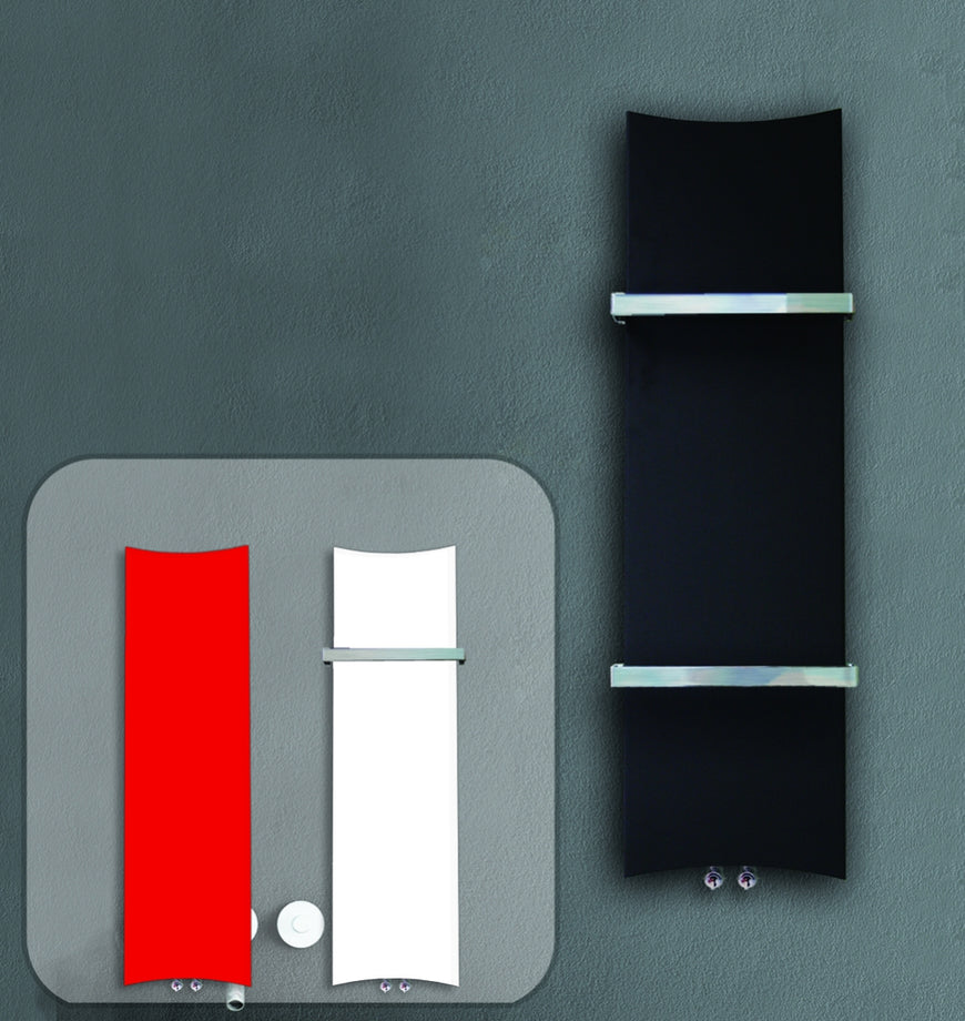 300mm Wide 1200mm High White, Black or Red Designer Heated Towel Rail Radiator Bone Style HTR