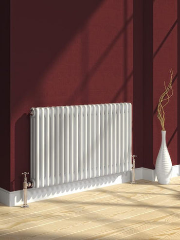 Reina Designer White Colona Traditional Column Horizontal Radiator