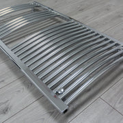 600mm Wide 1744mm High 25mm Tubes Curved Chrome Heated Towel Rail Radiator HTR