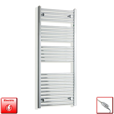 450mm Wide 1300mm High Flat Or Curved Chrome Pre-Filled Electric Heated Towel Rail Radiator HTR,GT Thermostatic / Straight
