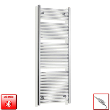 450mm Wide 1500mm High Flat Or Curved Chrome Pre-Filled Electric Heated Towel Rail Radiator HTR,GT Thermostatic / Straight