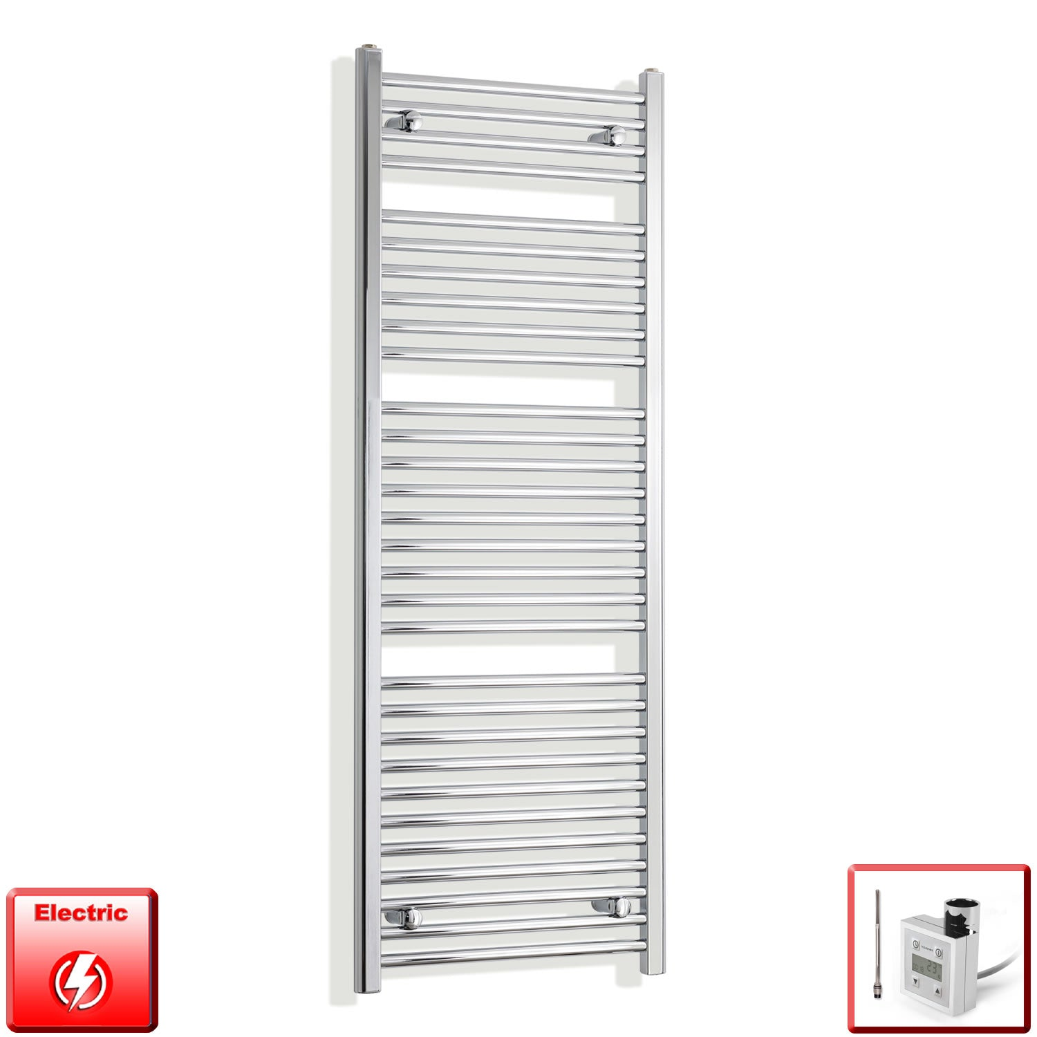 450mm Wide 1500mm High Flat Or Curved Chrome Pre-Filled Electric Heated Towel Rail Radiator HTR,KTX-3 Thermostatic Element / Straight