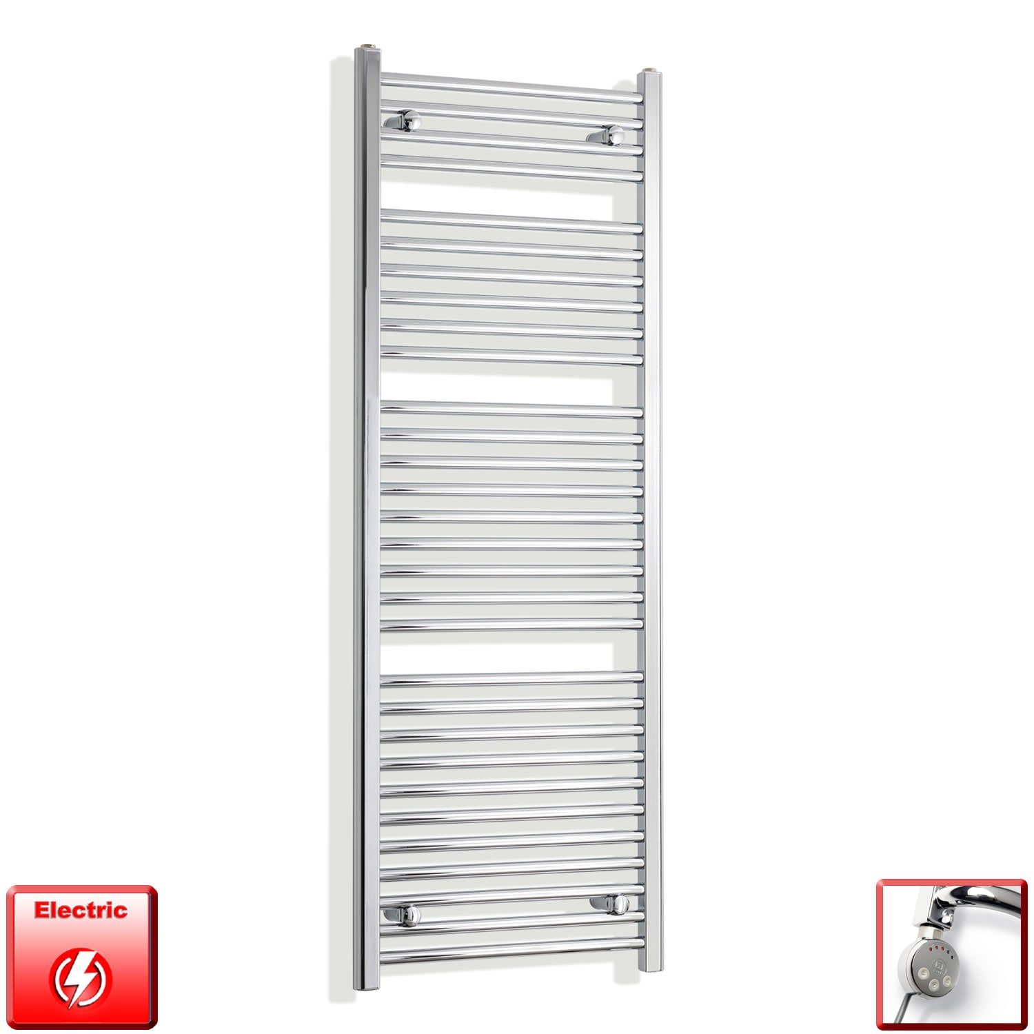 450mm Wide 1500mm High Flat Or Curved Chrome Pre-Filled Electric Heated Towel Rail Radiator HTR,MEG Thermostatic Element / Straight