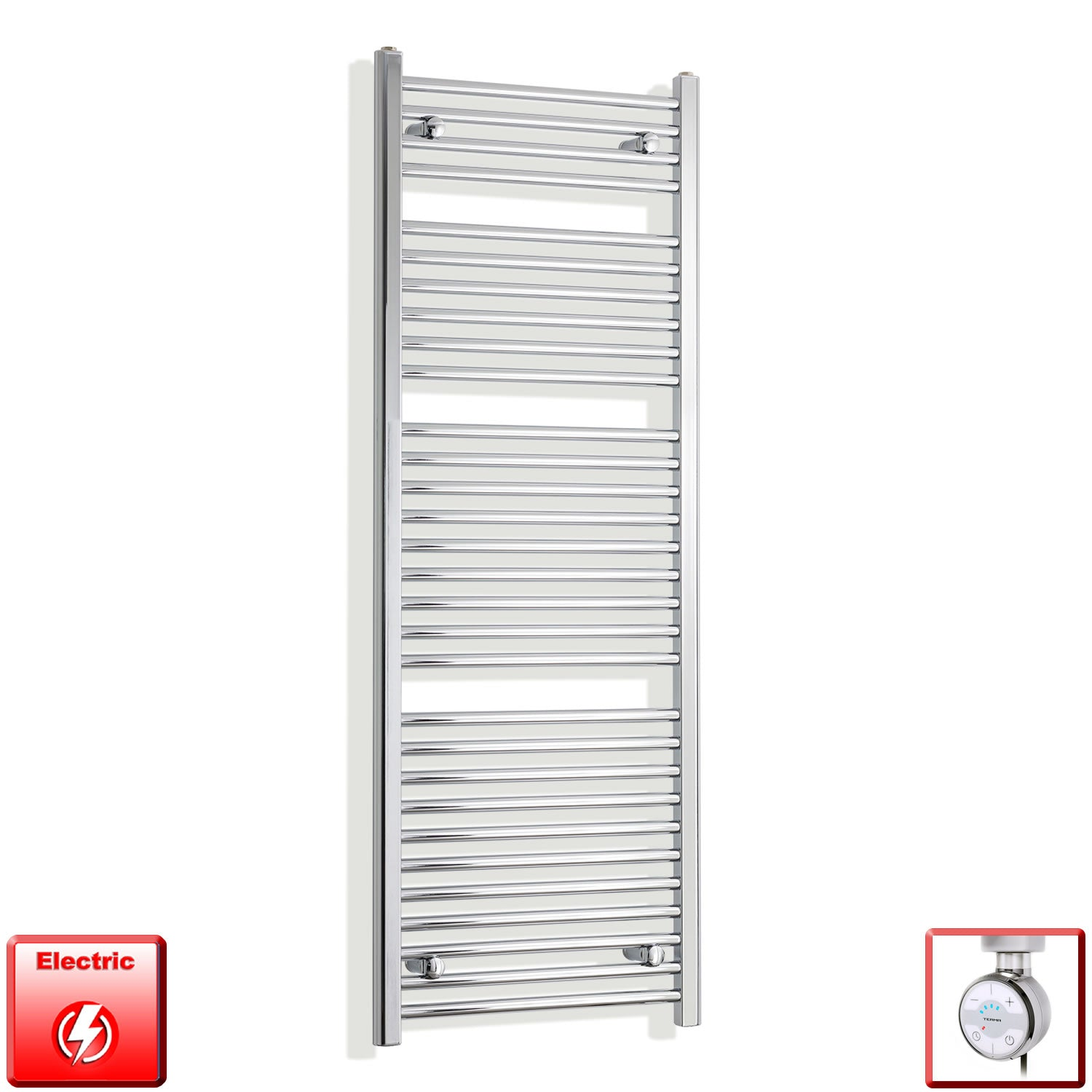 450mm Wide 1500mm High Flat Or Curved Chrome Pre-Filled Electric Heated Towel Rail Radiator HTR,MOA Thermostatic Element / Straight