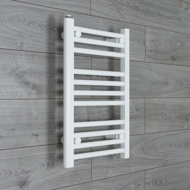 400mm Wide 600mm High Flat WHITE Pre-Filled Electric Heated Towel Rail Radiator HTR