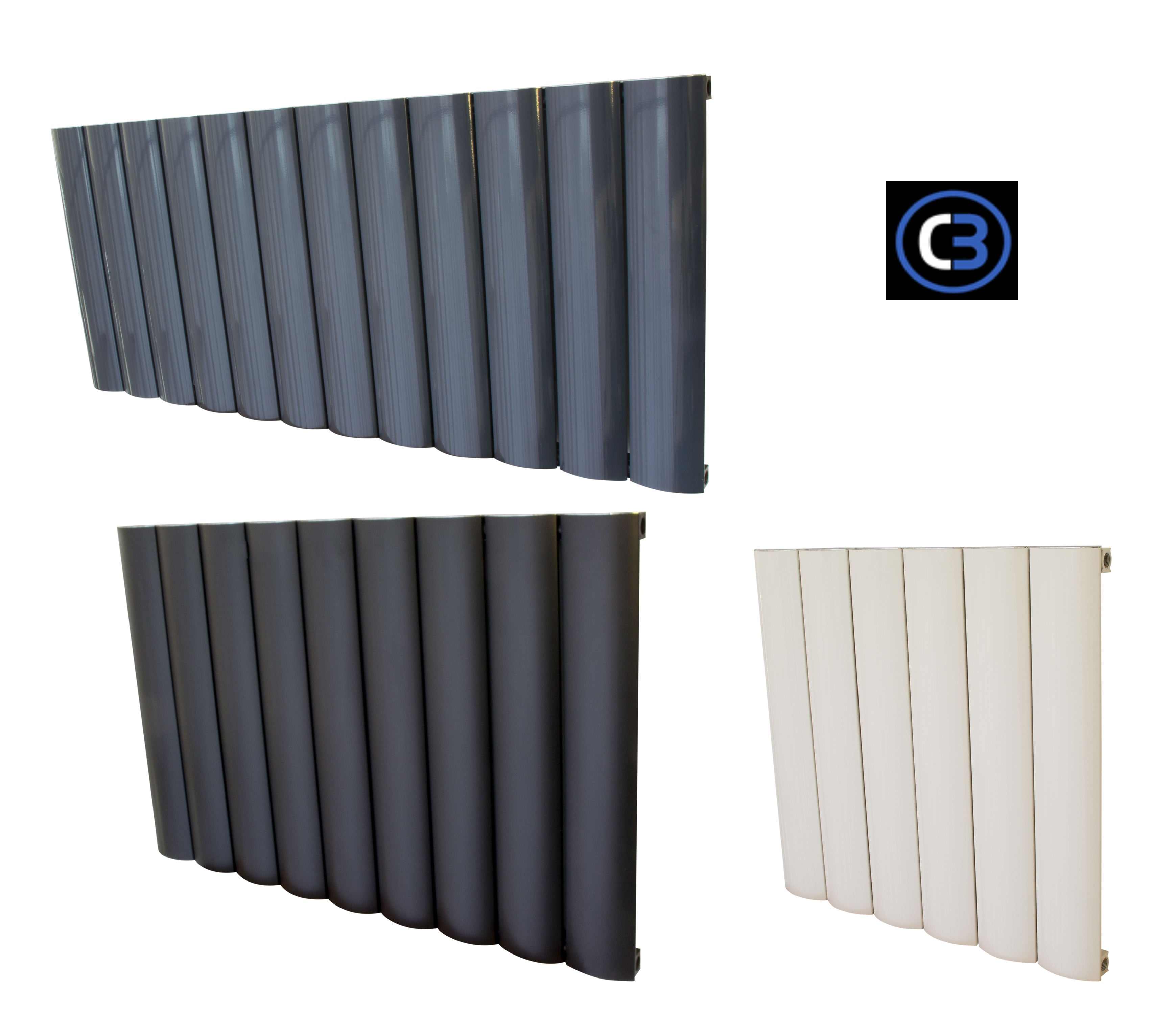 Horizontal Aluminium Radiator Oval Panel Heater - White & Black & Grey