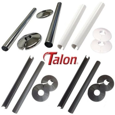 Talon Snappit Towel Rail Radiator Pipe Covers Collars Black, White, Chrome, Anthracite