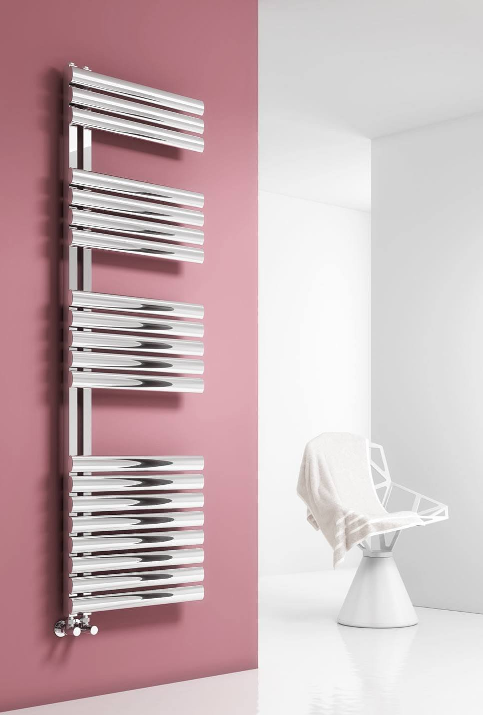 Reina Designer Scalo Vertical Heated Towel Rail Stainless Steel Radiator