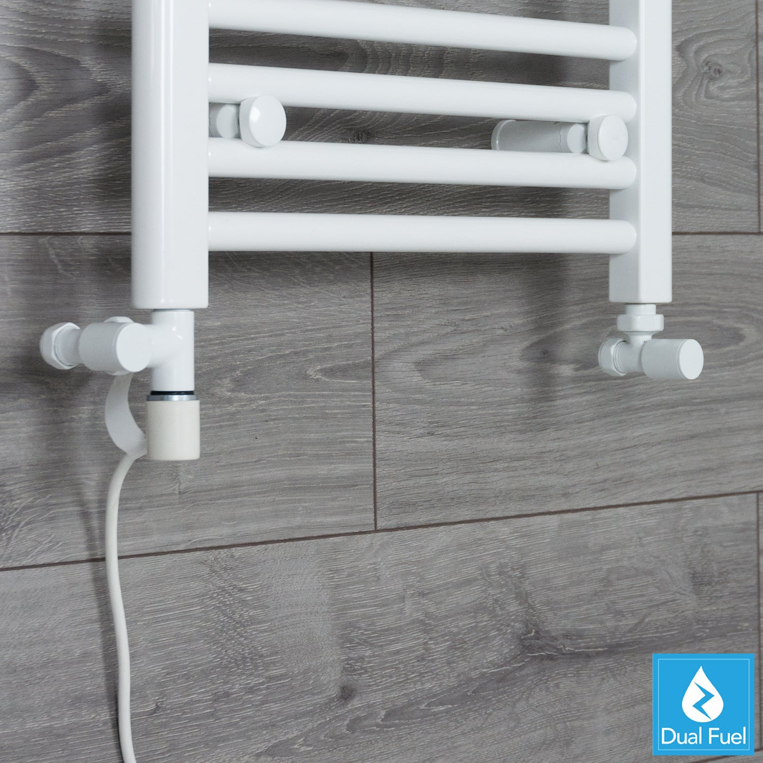 White Single Heat Dual Fuel Kit For Heated Towel Rail Radiator