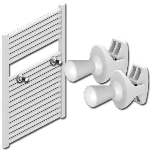 Thin Shape Peg Extra Hanger Hooks For Heated Towel Rail Radiators White / Chrome,White