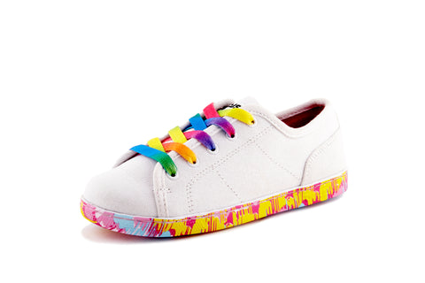Dezzy Marley white and rainbow lace  - Children's Sneakers | Dezzys Footwear promoting - Unity, Equality, and Fashion