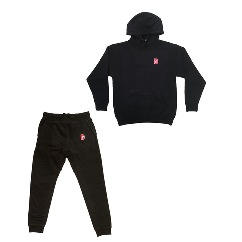 D Patch Full Sweatsuit - Black