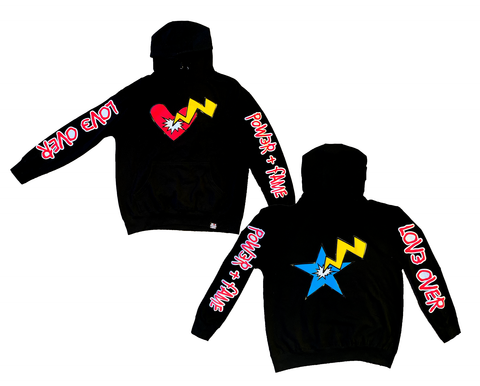 Heart & Star Burst 3D Puff Hoodie - Black