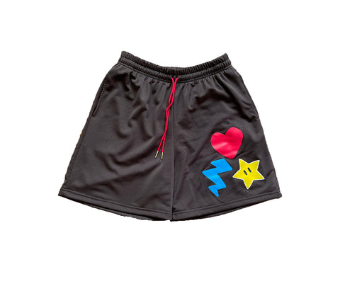 Heart Bolt Star Pro Mesh Hoop Shorts - Brown