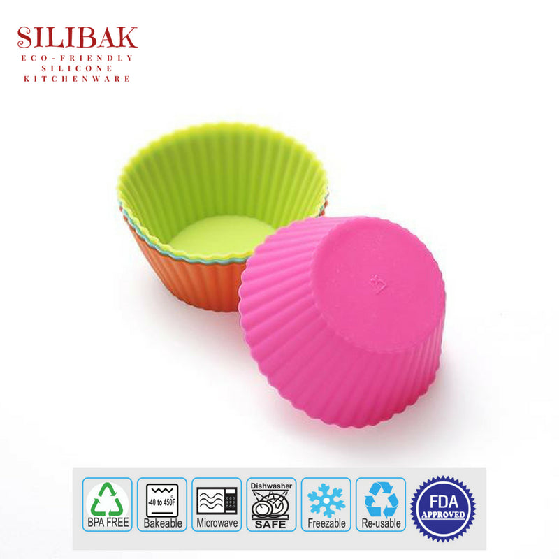 24 PCS/SET EASY FLEXIBLE ROUND ECO-FRIENDLY SILICONE CUPCAKES AND MUFFINS CUPS - SILIBAK