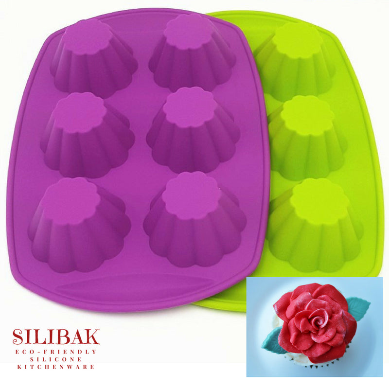 EASY FLEXIBLE ECO-FRIENDLY SILICONE 6 CAVITIES FLOWER SHAPE CUPCAKES & MUFFINS MOLD - SILIBAK