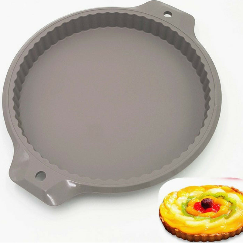 EASY FLEXIBLE 13'' BIG ROUND SHAPE ECO-FRIENDLY SILICONE CAKE & PIE PAN/MOLD - SILIBAK