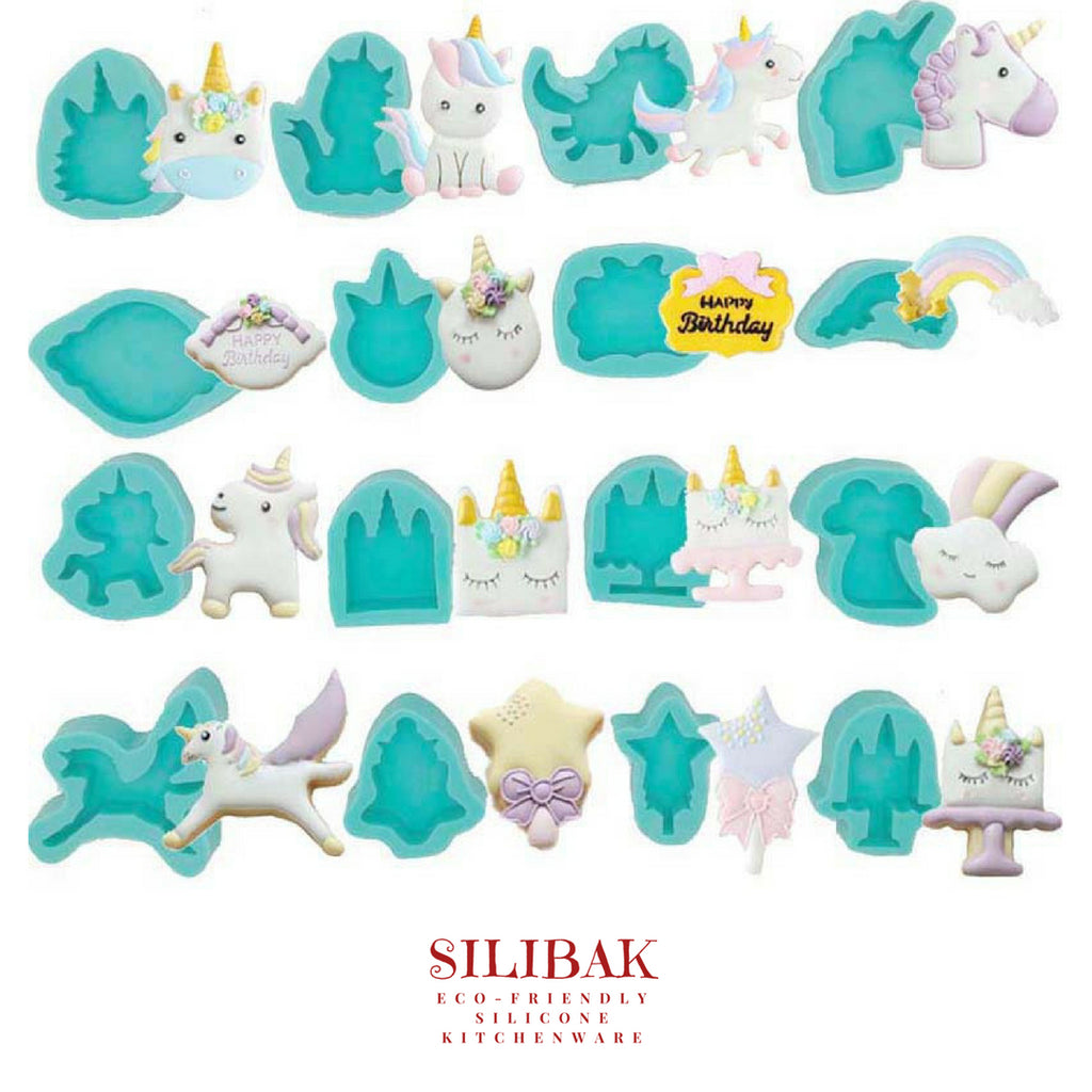UNICORN CARTOON EASY FLEXIBLE ECO-FRIENDLY DECORATING MOLDS (16 SHAPES) - SILIBAK
