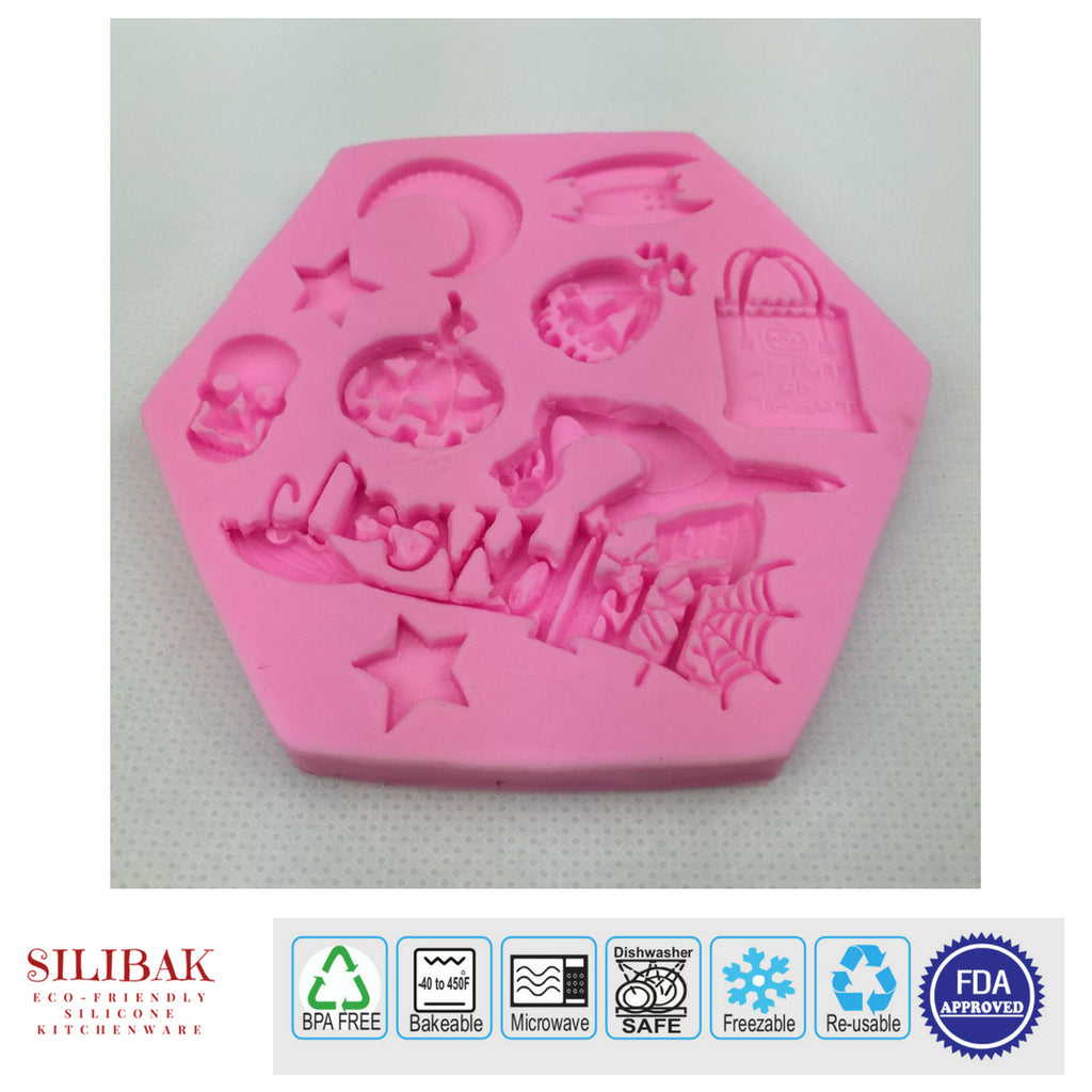 EASY ECO-FRIENDLY SILICONE 3D HALLOWEEN THEME MOLD (9 CAVITIES) - SILIBAK