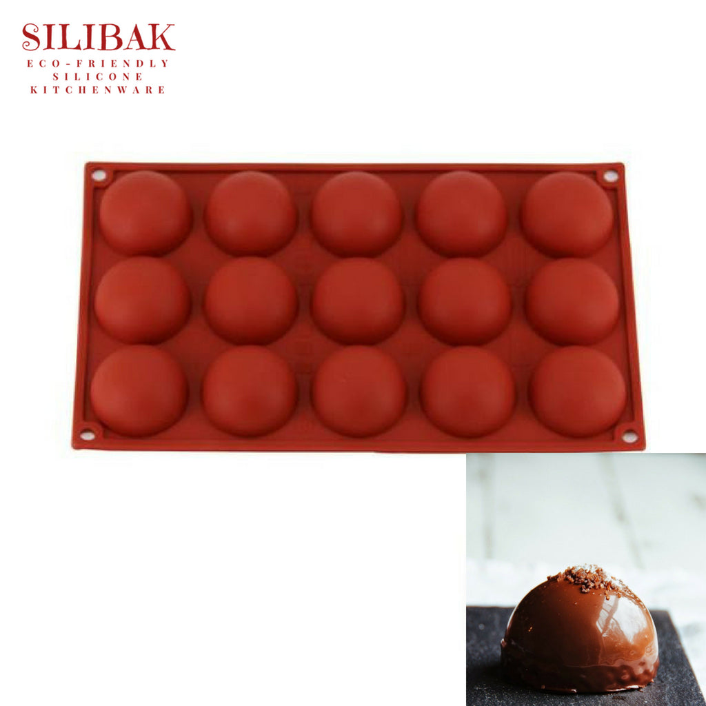 EASY FLEXIBLE ECO-FRIENDLY SILICONE 3D SEMI SPHERE 15 CAVITIES MOLD - SILIBAK