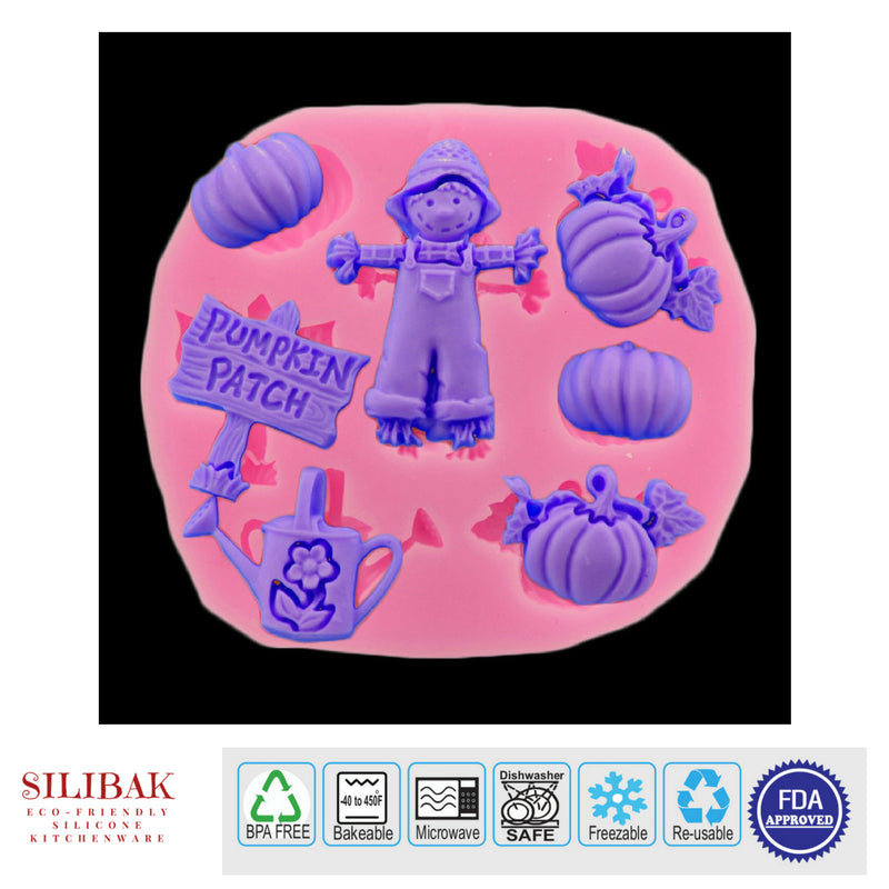 EASY ECO-FRIENDLY SILICONE 3D SCARECROW PUMPKIN MOLD - SILIBAK