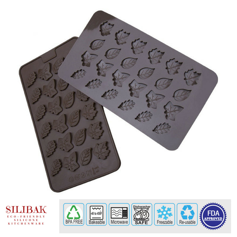 EASY FLEXIBLE ECO-FRIENDLY SILICONE CHOCOLATE & CANDY MINI LEAVES MOLD (24 CAVITIES) - SILIBAK