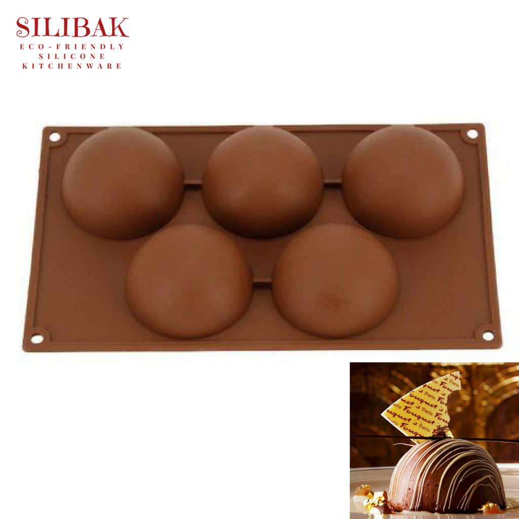 EASY FLEXIBLE ECO-FRIENDLY SILICONE 3D SEMI SPHERE 5 CAVITIES MOLD - SILIBAK