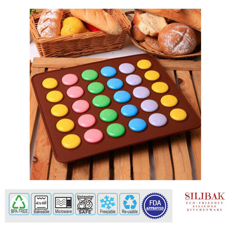 EASY FLEXIBLE ECO-FRIENDLY SILICONE MACARONS & COOKIES BAKING MAT 30 CAVITIES - SILIBAK