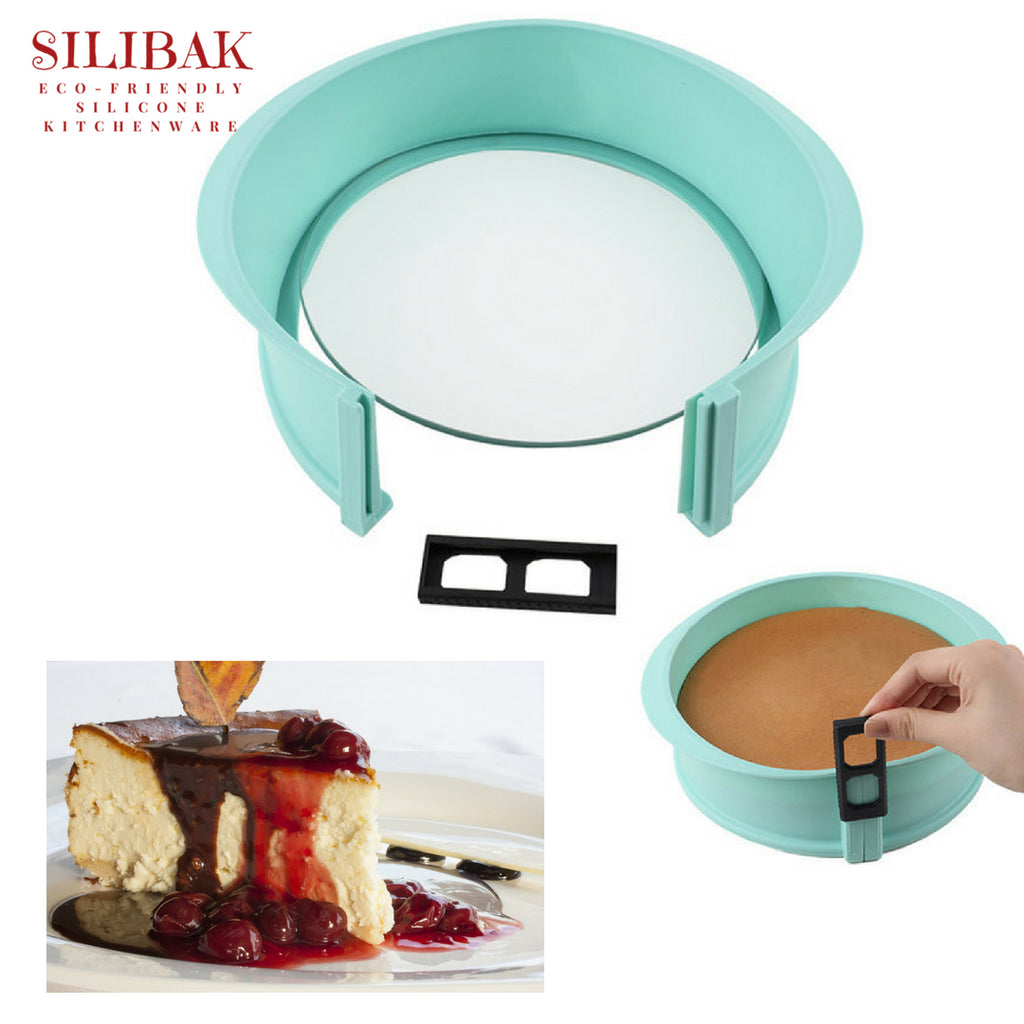 "PROFESSIONAL EASY FLEXIBLE LEAK PROOF ECO-FRIENDLY SILICONE BIG 10.6"" SPRINGFORM CHEESECAKES & MOUSSES CAKES BAKING PAN MOLD - SILIBAK"