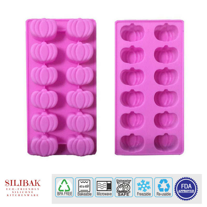 EASY FLEXIBLE ECO-FRIENDLY 3D SILICONE PUMPKIN MOLD (12 CAVITIES) - SILIBAK