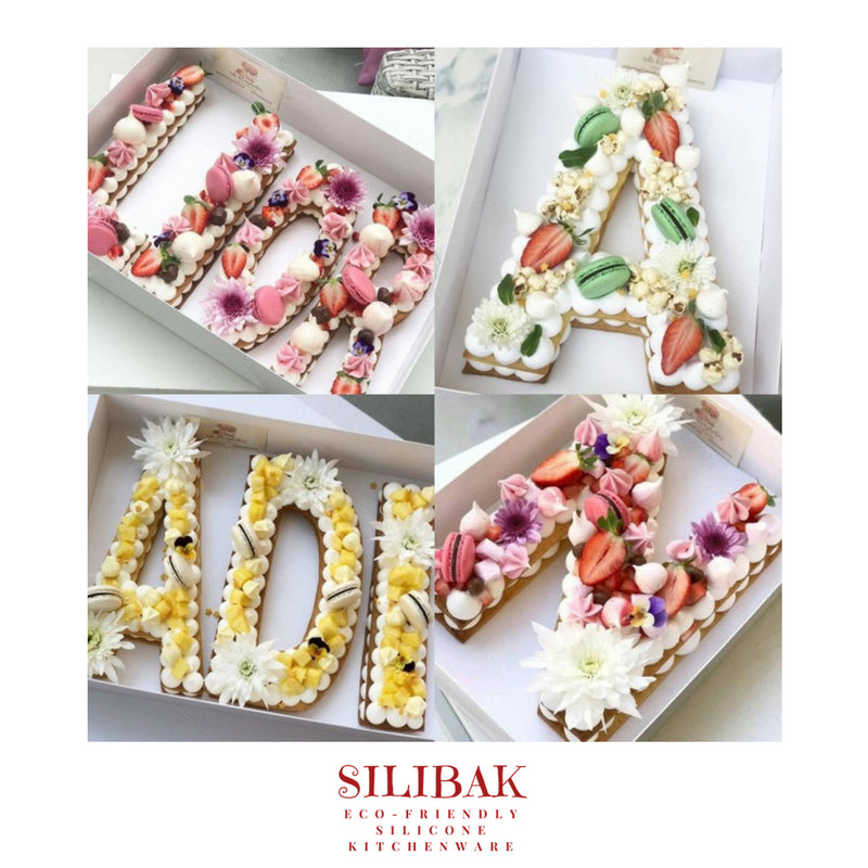 8'' LETTERS SHAPES ECO-FRIENDLY ACRYLIC STENCIL CAKE SHAPES KIT - SILIBAK