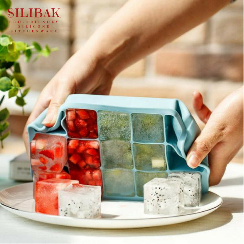 EASY FLEX SQUARE EC0-FRIENDLY SILICONE ICE TRAY (15 CAVITIES) - SILIBAK