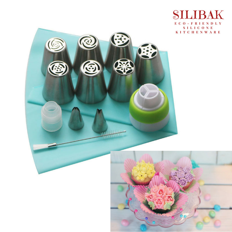 DELUXE ECO-FRIENDLY SILICONE & STAINLESS STEEL 13 PCS RUSSIAN FLOWERS ICING PIPING TIPS KIT - SILIBAK