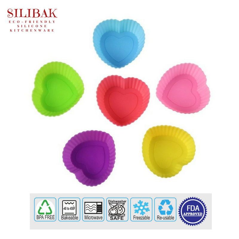 12 PCS/SET EASY FLEXIBLE ECO-FRIENDLY SILICONE CUPCAKES & MUFFINS MOLDS (10 SHAPES) - SILIBAK