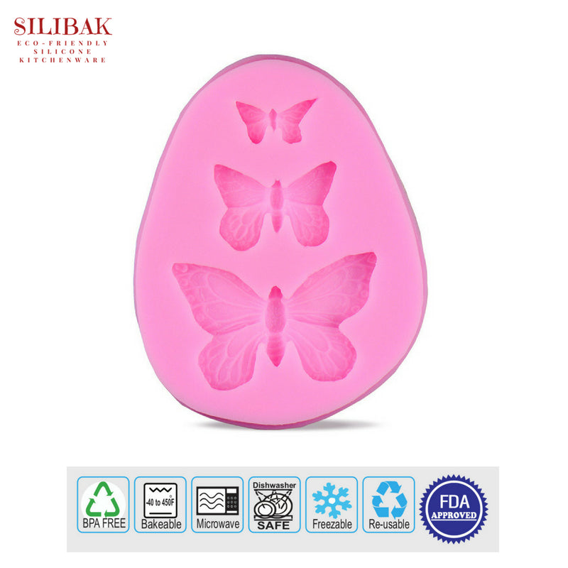 EASY ECO-FRIENDLY SILICONE 3D 3 BUTTERFLY MOLD - SILIBAK