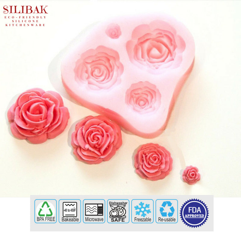 EASY ECO-FRIENDLY SILICONE 4 FLOWERS MOLD - SILIBAK
