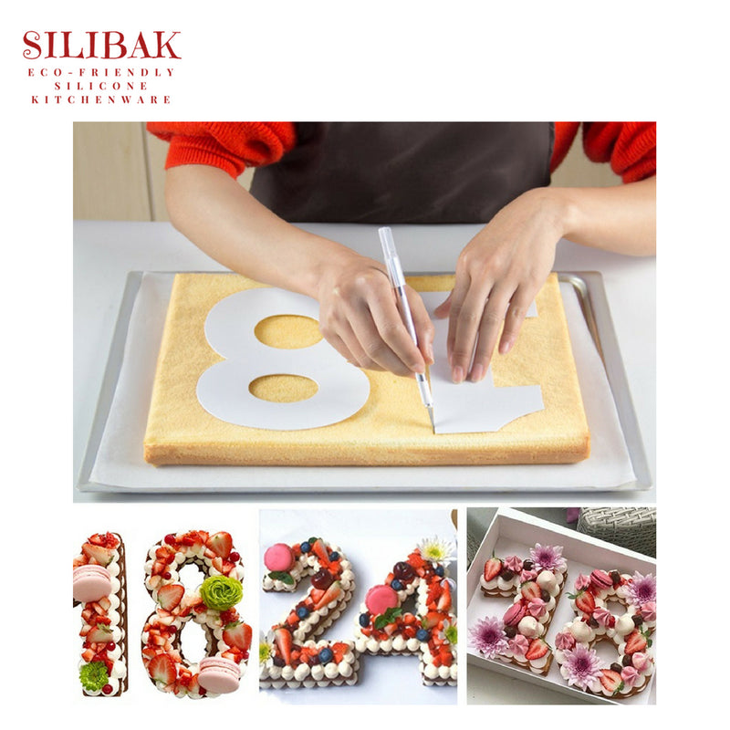 LETTERS SHAPES ECO-FRIENDLY ACRYLIC STENCIL CAKE KIT (6'' TO 12'') - SILIBAK
