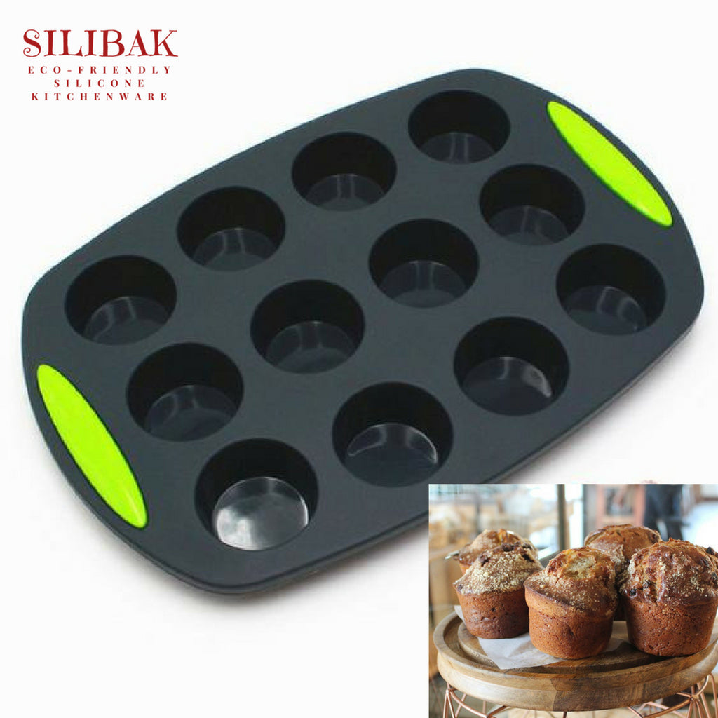 EASY FLEXIBLE ECO-FRIENDLY SILICONE 12 CAVITIES CUPCAKES & MUFFINS MOLD - SILIBAK