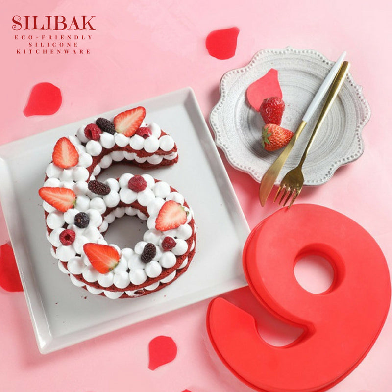 EASY FLEXIBLE 9 INCH 0-9 ECO-FRIENDLY SILICONE NUMBERS CAKE MOLDS - SILIBAK