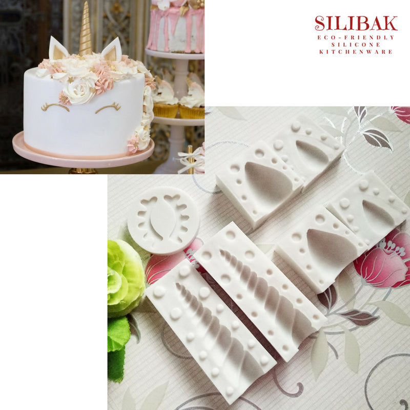 EASY FLEXIBLE ECO-FRIENDLY UNICORN DECORATING MOLDS (3 SHAPES) - SILIBAK