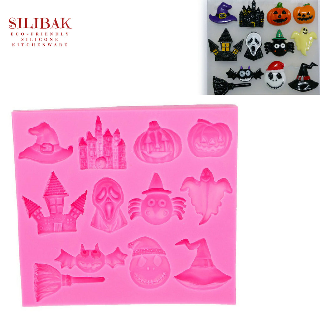 EASY ECO-FRIENDLY SILICONE 3D FUN HALLOWEEN THEME MOLD (12 CAVITIES) - SILIBAK