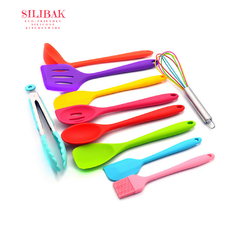 10 PCS/SET PREMIUM COLOURFUL ECO-FRIENDLY SILICONE HEAT-RESISTANT KITCHEN COOKING UTENSILS - SILIBAK