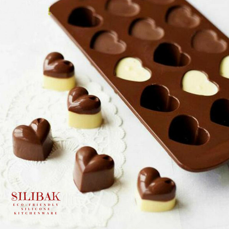 EASY FLEXIBLE ECO-FRIENDLY SILICONE CHOCOLATE & CANDY HEART MOLD 15 CAVITIES - SILIBAK